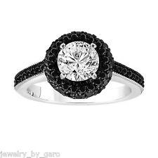 1.71 CARAT WHITE & ENHANCED FANCY BLACK DIAMONDS ENGAGEMENT RING 14K WHITE GOLD