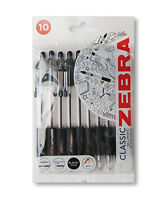 ZEBRA Z-GRIP BALLPOINT PEN - Pack of 10 black pens.