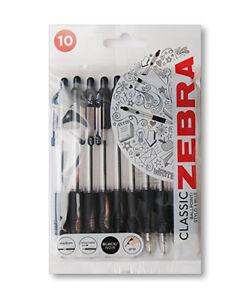 ZEBRA Z-GRIP BALLPOINT PEN - Pack of 10 black pens.