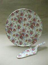 Vintage Royal Winton Cake Plate & Cake Slice ~ Red / Pink Rose Chintz Pattern