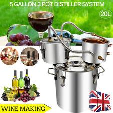 5Gal 10L Water Wine Alcohol Distiller Fruit Wine Brandy Red Copper Pipe UK STOCK