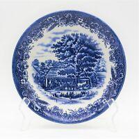 "Churchill China Currier & Ives Blue Bowl 7 3/4"" Cereal Soup Salad Vintage"