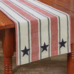 Stars Stripes Americana Applique Woven Cotton Primitive Country Table Runner