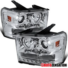 For 2007-2013 GMC Sierra 1500 2500 HD Denali Clear LED Halo Projector Headlights