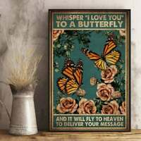 Whisper I Love You To A Butterfly Vertical Poster Vintage No frame Wall Decor