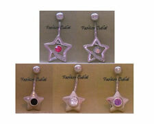 Barbell 14G 3/8 Buy 2/Get 1 Free Cz Star Shooting Belly Button Ring Navel Dangle