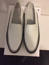 NIB VINCE BATES WHITE/DENIM TRIM LEATHER SLIP ON SNEAKER SHOE  7.5 $250 SOLD OUT