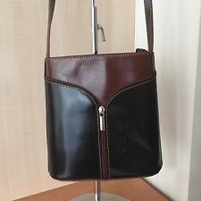 New Genuine Italian Leather Black And Brown Stylish Cross Over Body Bag