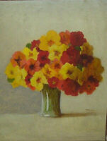 Antique Still Life Oil Painting Floral Flowers Art Red Orange & Yellow Bancroft