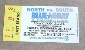 BLUE GRAY ALL STAR COLLEGE FOOTBALL TICKET - 1981 - NEAR MINT