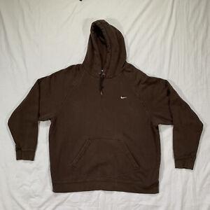 Vtg Nike Hoodie Brown Sweatshirt Silver Tag Late 90s 2000s Y2K Coffee Earth Tone