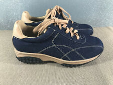 BNWOT Ladies Sz 7.5 Carrini Brand Blue Denim Tan Lace Up Casual Style Work Shoes