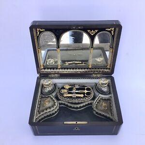 Palais Royal Sewing Box Neccessaire Baccarat Perfume Bottles Boulle Work Top