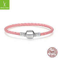 Authentic 925 Sterling Silver Genuine Braided Leather Single Wrap Bracelet Chain