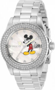 Invicta 40mm Disney Limited Edition Silver Tone Mickey Mouse Bracelet SS Watch