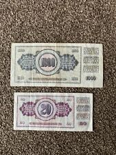 More details for yugoslavian dinar 1000 and 20 bank notes 1981. historical currency. good find