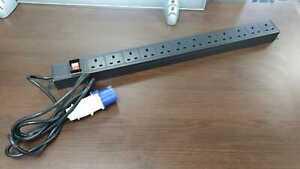 1U 10/12-Way Vertical UK 13A Switched Rack Mount PDU With 16 AMP Commando Plug