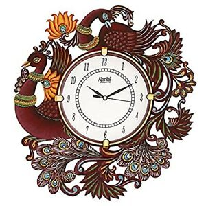 "Hand Painted Wooden Wall Clock Peacock Design Clock Home Décor 14"" Analog Clock"