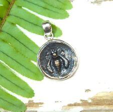 Ancient Coin Pendant - Honeybee - Simple Design - Sterling Silver, Vintage
