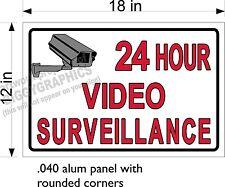 "12"" x 18"" .040 Thick Alum Sign Free Ship 24 Hour Video Surveillance Horizontal"