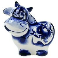 Gzhel Porcelain COW Figurine, Symbol 2021, Handmade in Russia. фигурка ГЖЕЛЬ