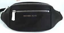 Michael Kors Mott Nylon Belt Bag, Waist Pack in Black Silver