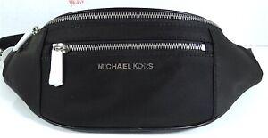 Michael Kors Mott Nylon Belt Bag, Waist Pack in Black Silver