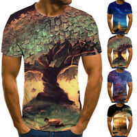 Men's 3D Geometric Print T-Shirt Casual Short Sleeve Round Neck Funny Tee Tops