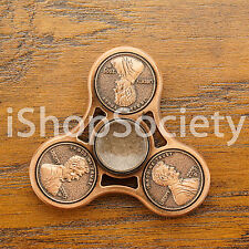 Penny Fidget Tri Spinner Figet Spinners EDC Gyro Anxiety Toy ADHD -USA- COPPER