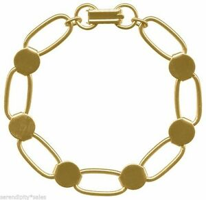 4 GOLD PLATED BRACELET Blanks ~ Oval Links with 6 Disks / Pads for Beads/Cabs