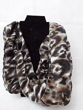 """Maurice's Scarf with chain decoration 36"""" Brown & Black Animal Print"""