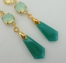 Art Deco Art Nouveau Jade Verde y pendientes de novia