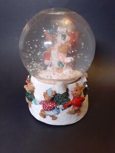Alberte Price Musical Santa Claus Snow Globe Checking His List With Teddy Bear