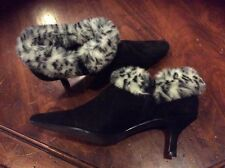 """Valley Lane 2"""" heel black leather upper fabric fur ankle boots women size 7 1/2W"""