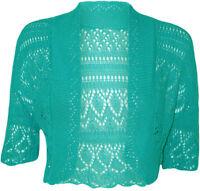 New Women's Crochet Knitted Ladies Bolero Waterfall Cardigan Top Shrug Size 6-30
