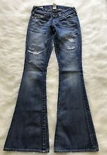Women's True Religion Distressed Flare Jeans Skull Patch Sz 25