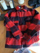WOOLRICH M Medium Barn Hunting Coat Red Plaid Jacket Mens