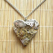 steampunk punk gothic pendant necklace heart watch parts gear men women jewelry