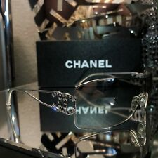 Chanel Sunglasses Swarovski Crystal 4072-B CC Logo Silver Clear Shield RARE!