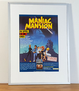 Maniac Mansion LucasFilm Games 1987 Original Commodore 64 C64 Ad Poster Framed