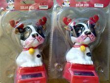 2- Dog Puppy Reindeer Christmas BOBBLE TOY SOLAR POWER CAR DASH OFFICE DESK GIFT