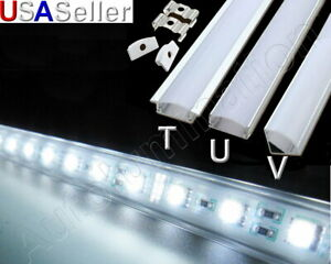 Aluminum LED Strip Fixture Channel Under Counter Cabinet Light Kit T U V Angle