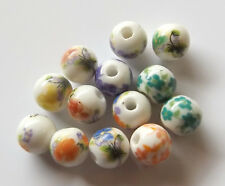 30pcs 8mm Round Porcelain/Ceramic Beads - Random Mix
