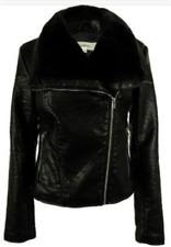 "Wildflower Black Faux Fur Faux Leather ""Moto"" Motorcycyle Jacket Sz XS NWT $149"