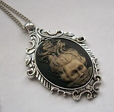 MERMAID PIRATE SHIP Halloween Steampunk Pendant HAND PAINTED CAMEO Necklace