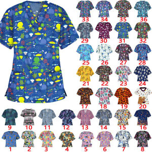 Women Ladies Printed Medical Scrubs V Neck/ Mock Wrap Top/ Uniform Nurse Blouse
