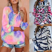 Women Tie Dye Hoodies Long Sleeve Sweatshirt Casual Loose Hooded Tops Jumper US