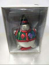 DEPT. 56 HAND BLOWN MERCURY GLASS SNOWMAN ORNAMENT