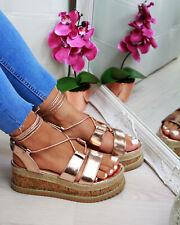 17c48f0a3b0c6 New Womens Platform Sandals Espadrille Ankle Tie Up Comfy Summer Shoes  Sizes 3-8