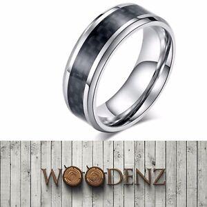 Men's Carbon Fibre Inlay Polished Titanium Steel Band Ring & Velvet Gift Box